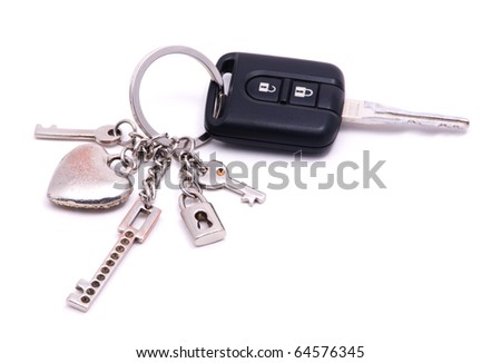 car keys with alarm and keyfob - stock photo