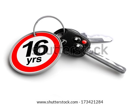 Car keys with keyring of legal age of drivers in USA - stock photo