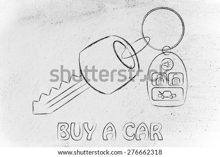 car keys with remote, concept of renting or buying a new car - stock photo