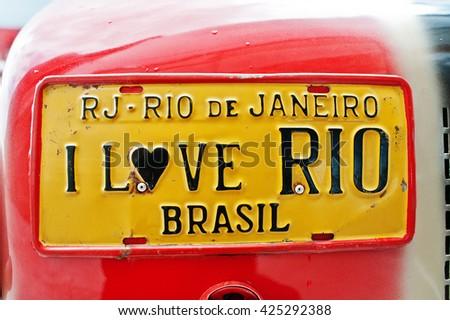 Car license plates with sign I love RIO Brasil - stock photo