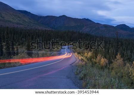 Car light trails - stock photo