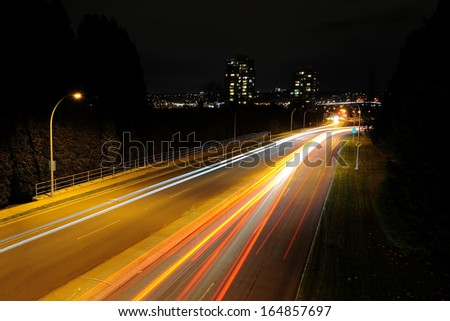 car light trails at night