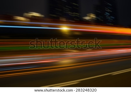 Car light trails on road. Long exposure photo