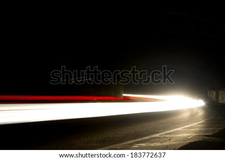 Car lights in motion
