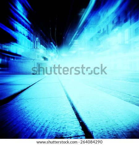 Car lights on a highway at night - stock photo
