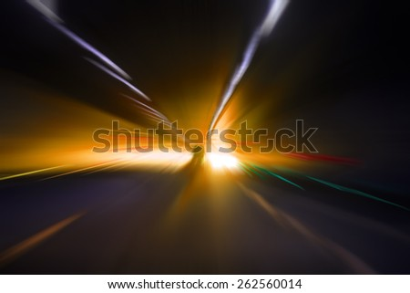 car lights on highway by night,abstract light speed trace,abstract speed background - stock photo