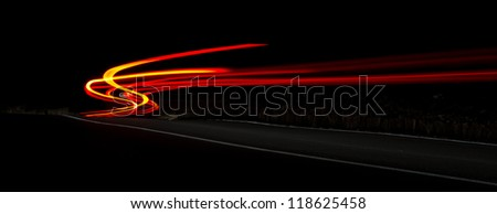 car ligts trail - stock photo