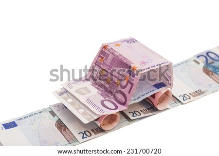 Car Made From Euro Banknotes isolated on white background - stock photo
