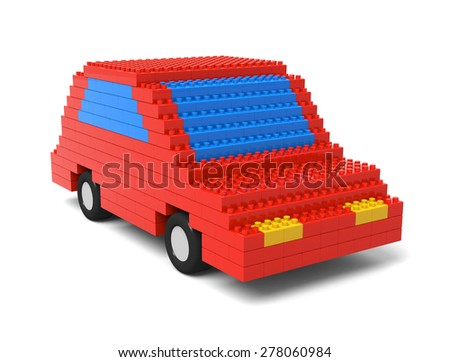 Car made out of blocks - stock photo
