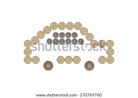Car made out of British One Pound Coins - stock photo