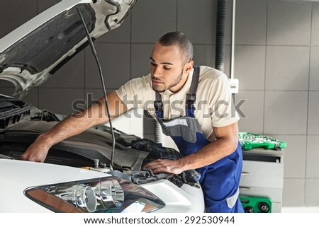 Car, Mechanic, Auto Repair Shop. - stock photo