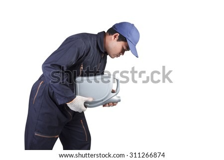 Car mechanic replacing and pouring oil isolated on white background with clipping path - stock photo