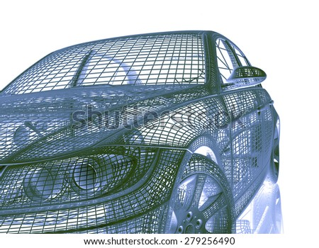 car model on colored background - stock photo