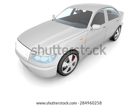 Car model on isolated white background, top view