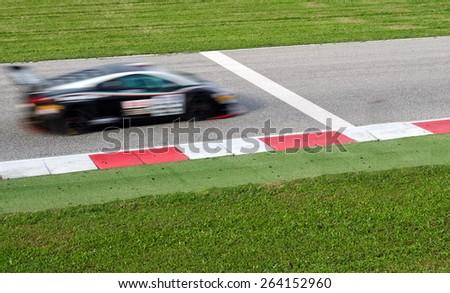 car near the finish line - stock photo