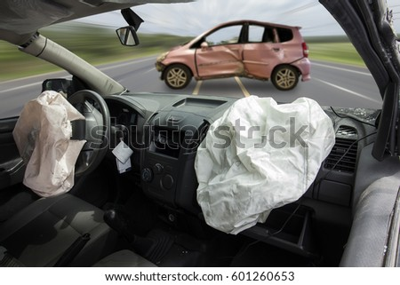 Car Accident Make Airbag Explosion Damaged Stock Photo (Royalty Free ...