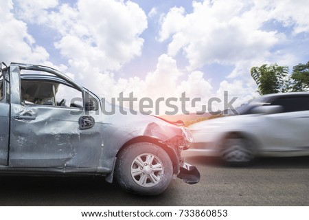 Car Accident Make Airbags Explosion Damaged Stock Photo (Royalty ...