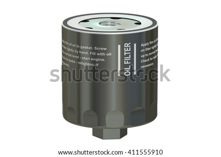 Car Oil filter, 3D rendering isolated on white background - stock photo
