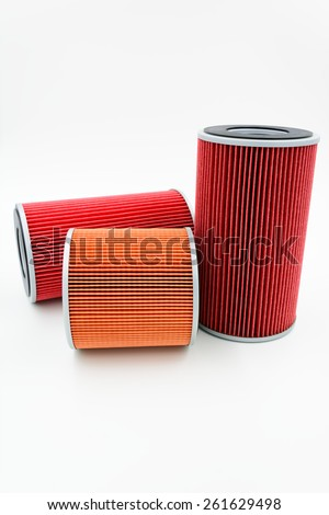 car oil filter on white background - stock photo