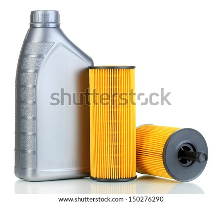 Car oil filters and motor oil can isolated on white - stock photo