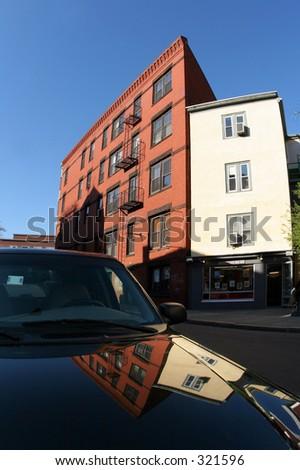 Car on a street of Cambridge - stock photo