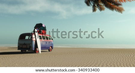car on a tropical beach and palm - stock photo