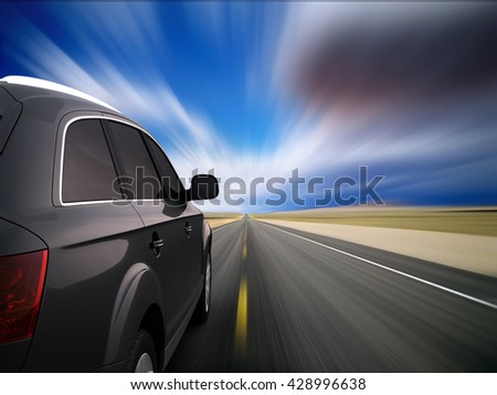 Car on full speed with motion blur. 3D Illustration.