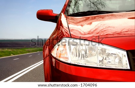 Car on the highway :closeup
