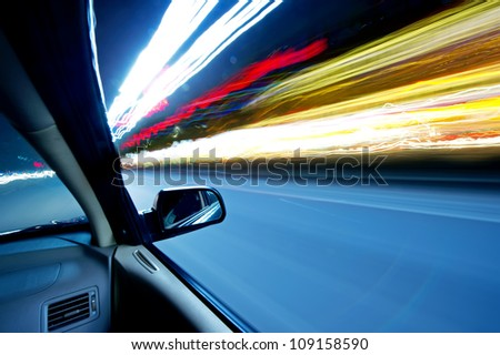 car on the road wiht motion blur background.