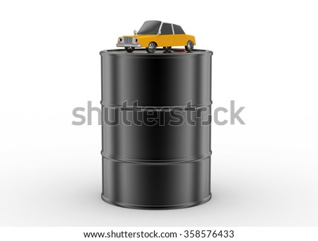 Car on the top of the oil barrel