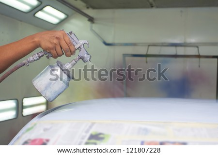 car painting with prime color - stock photo