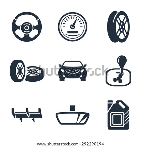 Car parts  icon set - stock photo