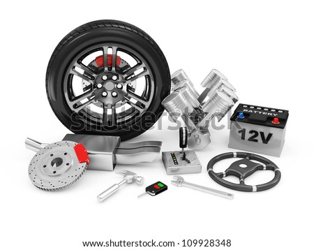 Car Parts isolated on white background - stock photo
