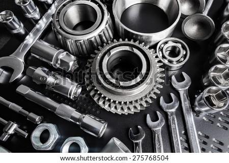 Car parts on black background - stock photo