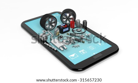 Car parts on tablet,isolated on white background - stock photo