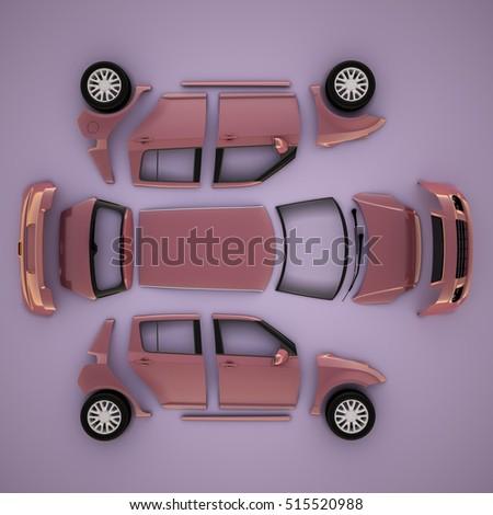 Car Parts View 3d Illustration High Stock Illustration 515521024