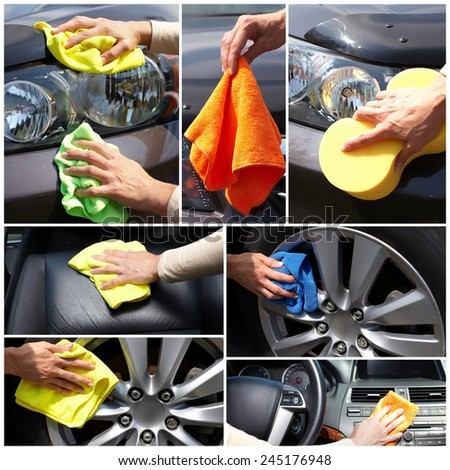 Car polishing. Hand of woman cleaning vehicle - stock photo
