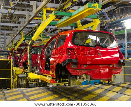 Car production line - stock photo