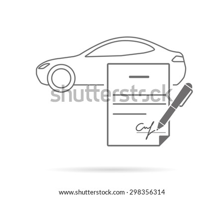 Car purchasing contract with signature. Contour icon isolated on white - stock photo