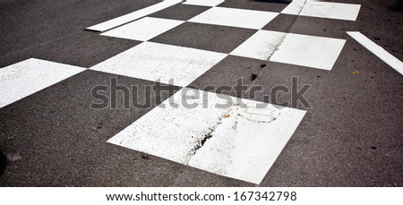 Car race asphalt and curb on Monaco Montecarlo Grand Prix street circuit - stock photo