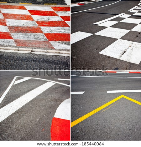 Car race asphalt theme on Monaco Grand Prix track. - stock photo