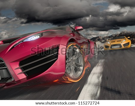 Car racing - stock photo