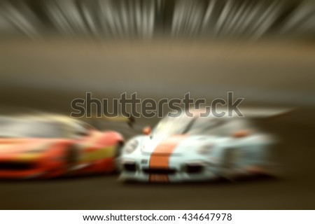 car racing on the road and  track with motion blur and Radial blur ,vintage - stock photo