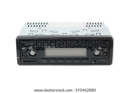 Car radio with mp3 isolated on white background - stock photo