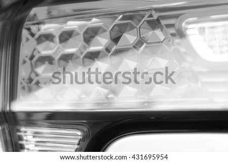 Car Rear light bulb as abstract background - Black and White