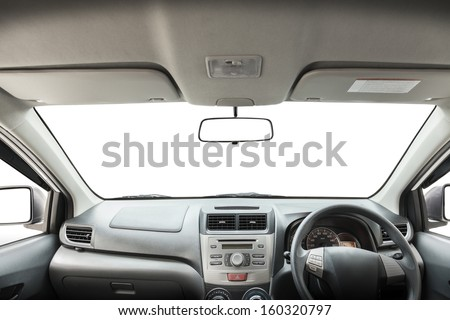 Car rear view mirror isolated on white.