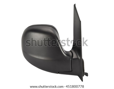 Car rear view mirror isolated on white - stock photo