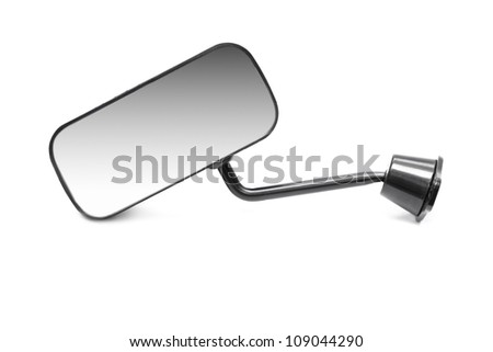 Car rear-view mirror isolated on white background - stock photo