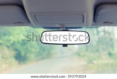 Car rear view mirror with clipping path - stock photo