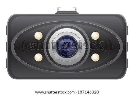 car recorder front view illustration isolated on white background - stock photo
